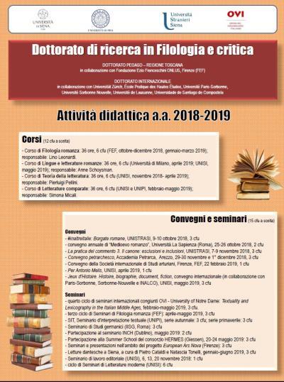 Calendario Unipi.Didattica Dipartimento Di Filologia E Critica Delle